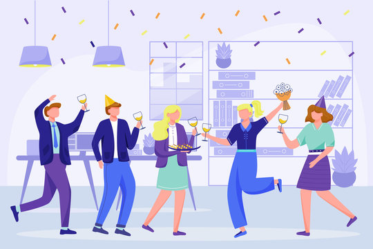 Corporate birthday party in office flat vector illustration. Office team anniversary celebration. Festive event with coworkers. Colleagues dance, drink wine on workplace cartoon characters