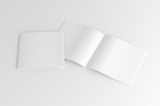 Square Magazine Brochure Blank White Mockup