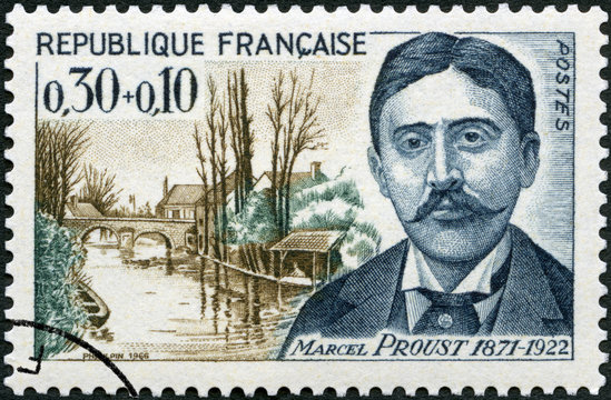 FRANCE - 1966: shows Valentin Louis Georges Eugene Marcel Proust (1871 - 1922) St Hilaire Bridge, Illiers, French writer, The surtax was for the Red Cross, 1966