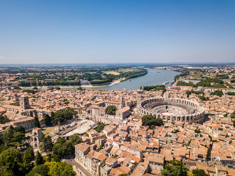 Aerial View of Arles Cityscapes, Provence, France