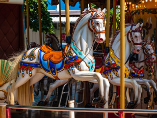 Old carousel horses in Lignano, Italy