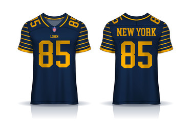 American Football jersey,t-shirt sport design template.uniform front and back view.