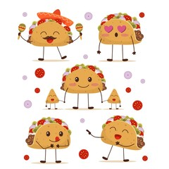 Cute and fun positive taco character set vector illustration. Collection consists of cartoon smiling yummy mexican dish with fried tortilla for creative design. Isolated on white