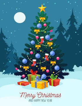 Christmas festive greeting card with xmas tree vector illustration. Green pine decorated star, balls, lights and present boxes on snowy night forest background. Winter holidays celebration design