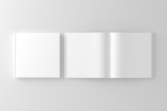 Square Hardcover Book White Blank Mockup