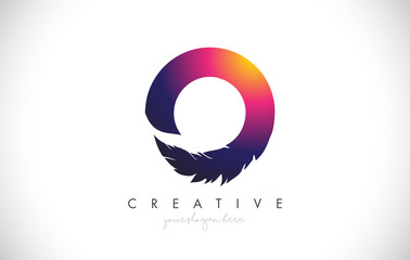 O Feather Letter Logo Icon Design With Feather Feathers Creative Look Vector Illustration