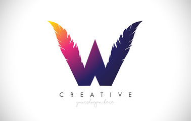 W Feather Letter Logo Icon Design With Feather Feathers Creative Look Vector Illustration
