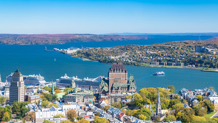 Quebec City, panorama of the town, with the Saint-Laurent river in background