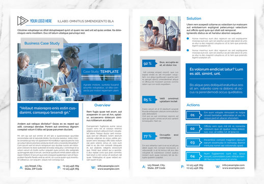 Case Study Layout with Blue and Orange Accents