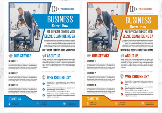 Business Flyer with Orange and Blue Accents