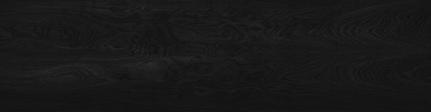 Wood black background long. Dark texture blank for design