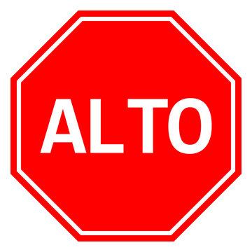Mexican Stop sign ALTO traffic warning symbol vector