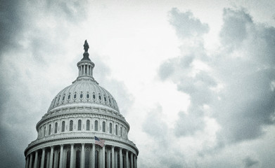 Textured image of the United States Capitol dome on a stormy day