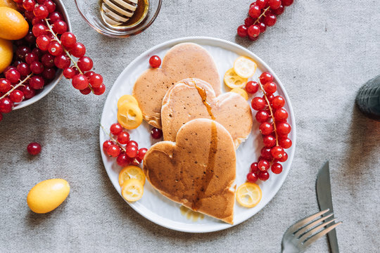 Delicious heart shaped pancakes