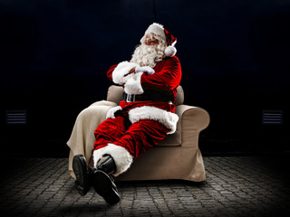Santa Claus and free space for your decoration
