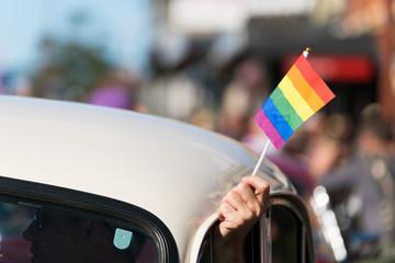 Gay rainbow flags at parade