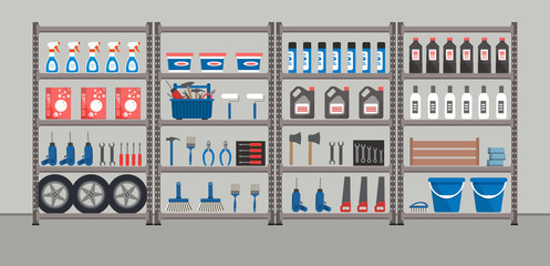 Shelving with household goods. Warehouse racks. Storeroom. There are tools, boxes, buckets, brushes, bottles and other things in the picture. Vector illustration.