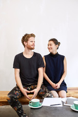 Designer couple having a great day