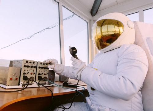 Anonymous astronaut using radio equipment
