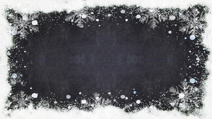 frame with snow, ice crystals, snowflakes isolated on black background with copy space