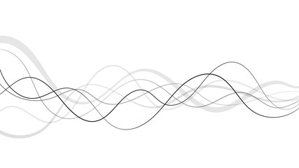 Abstract curved and wave black and grey lines on a white background