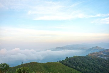 Printed kitchen splashbacks Light blue The fog that covers the I-Tong village and the mountain view at the National Elephant War Hill, Thong Pha Phum, Kanchanaburi, Thailand