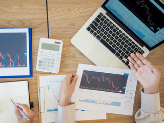 Canvas Prints Textures Trader team discussion and analyze stock graph and report, set targets for online trading management success