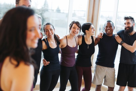 People chatting after - or before - yoga class