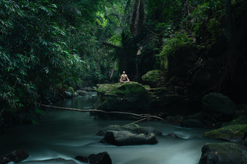 Man Rest In A Tropical Rainforest