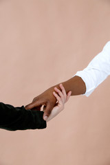 Crop interracial hands touching each other