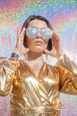 Boujee Woman In Shiny Outfit On Holographic Background