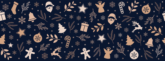 Wall Mural - Christmas icon elements border pattern blue background.
