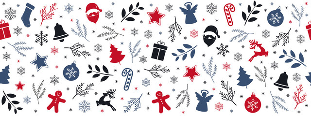 Wall Mural - Christmas icon elements border pattern isolated white background.