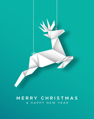 Christmas New Year reindeer paper origami card