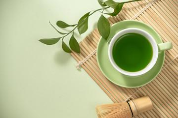 Green matcha tea drink and tea.