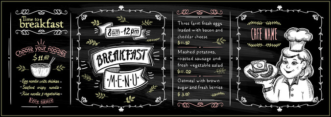Chalkboard breakfast menu set with graphic chef cook portrait