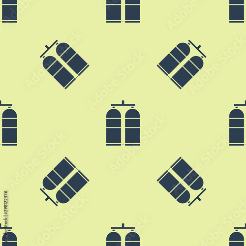 Blue Aqualung icon isolated seamless pattern on yellow