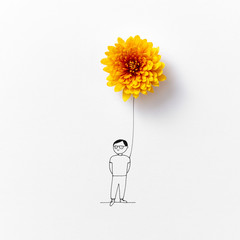 Beautiful drawing with natural orange flower and a man on a gray