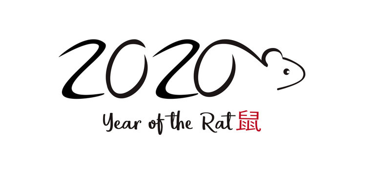 2020 Year of the Rat vector. Chinese horoscope. Calligraphic style.