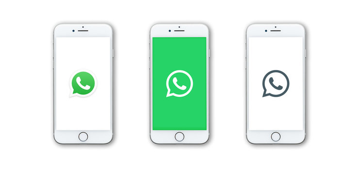 Guilherand-Granges, France - October 24, 2019. Apple Iphone 8 with different logos of instant messenger WhatsApp.