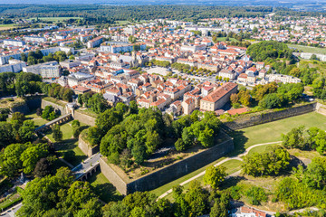 Start-shaped bastions and fortified walls of Ville Neuve (New town) of Longwy (Langich, Longkech) city in Lotharingia and Upper Lorraine, France. Aerial drone view of one of Fortifications of Vauban