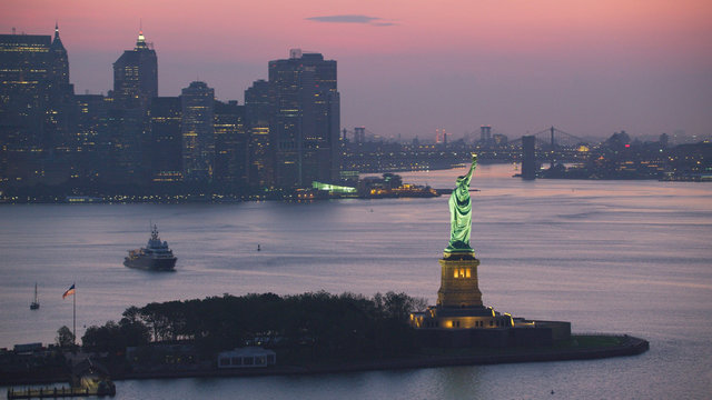 Statue of Liberty at dusk.
