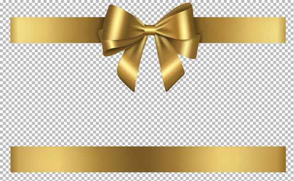 golden bow and ribbon for birthday and christmas decorations