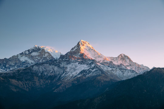 The Annapurna range in the Himalayas.