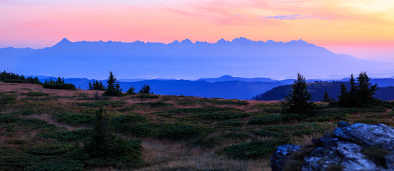 Beautiful panorama of whole High Tatras at sunrise in high resolution