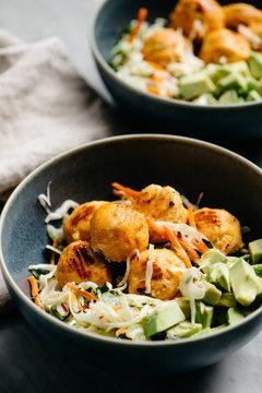 Buffalo Chicken Meatball Salad