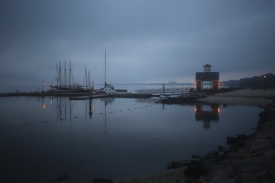 View of harbor during dusk