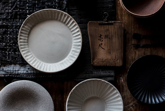 Japanese ceramics, fabrics and props