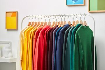 Vivid colored clothing in rainbow spectrum