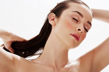 Relaxing woman portrait after swim